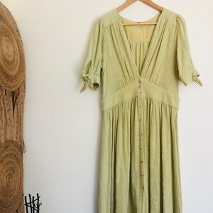 Free People Love Of My Life Midi Dress in Lime